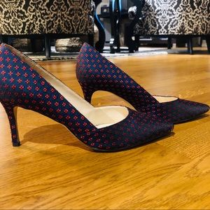 Nine West Navy and Red Embroidered Heels